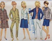 Simplicity 6887 vintage 1960's woman's jacket, skirt, shorts & pants sewing pattern size 12 bust 32 waist 25 hip 34