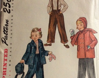 Simplicity 2968 child's jacket and pants size 6 vintage 1940's sewing pattern