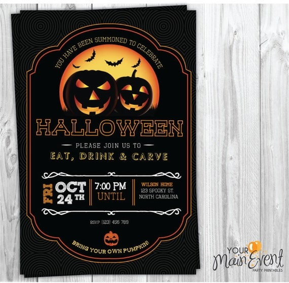 Pumpkin Carving Party Invitation, Personalized Halloween Party Invitations