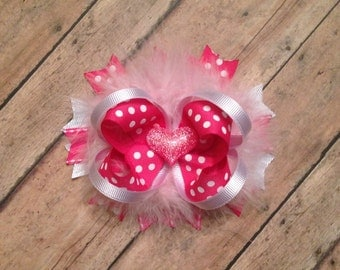 Valentines Day Over the Top Boutique Bow Pink and White polka dot Layered Boutique Bow