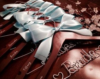 Set of 7 Personalized hanger, bridal hanger, wedding hanger, bridesmaid hanger, customized hanger