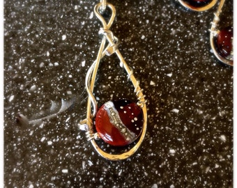 Sterling Silver Wire Wrapped and Red Lampwork Bead Pendent