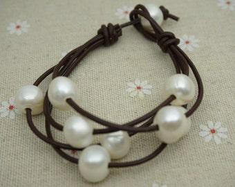 Leather Pearls Bracelet, Handmade Cuff,White Pearls on Brown Leather,Black leather bracelet,Le7-072