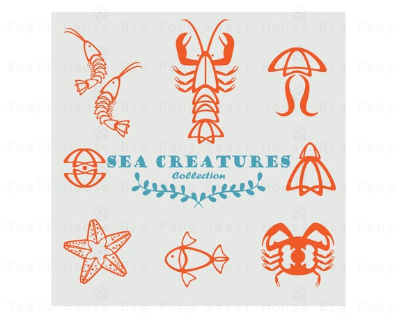 Sea Creatures Clipart, seafood Clip art, restaurant Clipart, simple clip art, sea creatures Clip Art