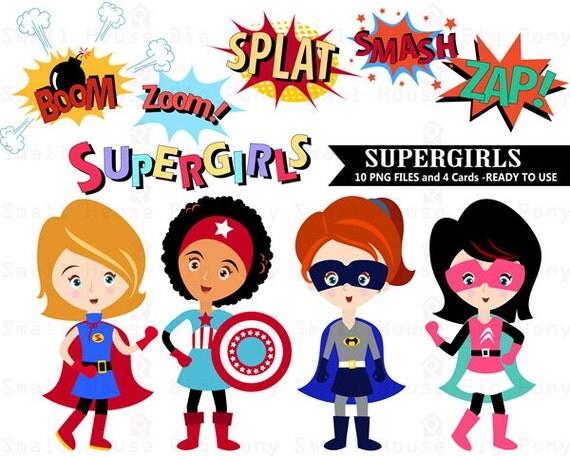 Superhero Clipart, Super girl Clipart ,Girl Superheroes clip art, Super heroes clip art