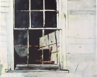 Vintage art print litho poster NOS WEST WINDOW Andrew Wyeth watercolor Lyman Allyn Connecticut
