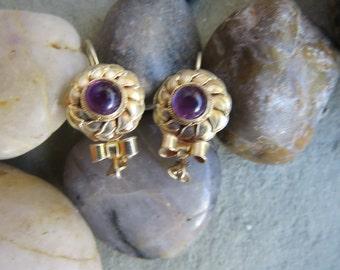 Amethyst Earrings 925 Vintage Sterling Beautiful!