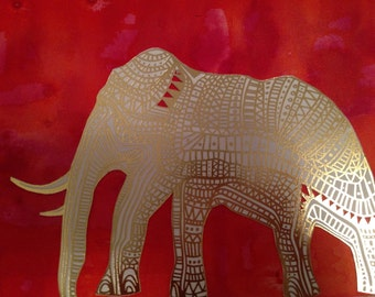 Signed Gold Foil and Ivory Elephant Print – deep pink/red watercolour background