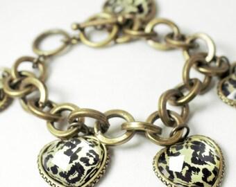 Vintage Chunky Bracelet Heart Bracelet Vintage Heart Bracelet Chunky Bracelet Statement Bracelet Heart Bracelet