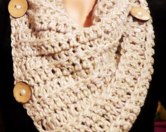 Crochet Cowl WIth Wooden Buttons