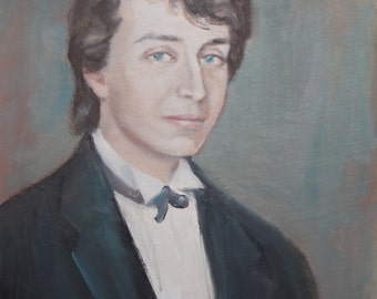 Vintage oil painting young male portrait signed