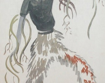 Vintage wc painting abstract theatre costume design signed
