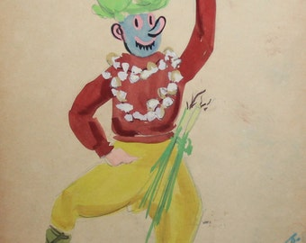 Vintage gouache abstract clown theater costume drawing signed
