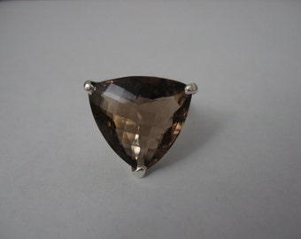 Smoky quartz trillion sterling silver 925 ring size 9