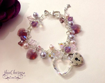 Cyclamen Opal Swarovski Crystal and Heartlinked Sterling Silver Charm Bracelet