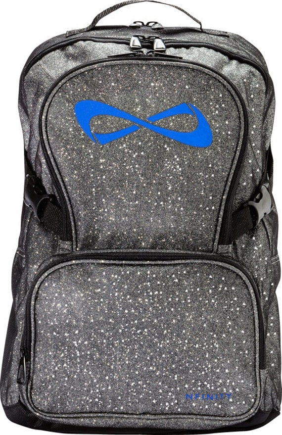 nfinity sparkle backpack gray with blue logo customizable