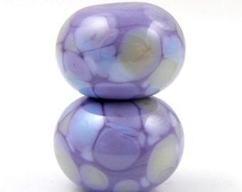Purple Haze Earring Pair SRA Lampwork Handmade Artisan Glass Donut/Round Beads Made to Order Pair of 2 8x12mm
