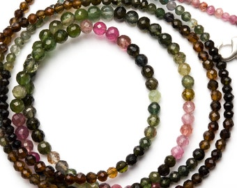 Natural Gemstone Super Quality Multi Color Tourmaline 3 to 4.5MM Approx. Faceted Round Ball Shape Bead Necklace Multi Color Beads 18 Inch