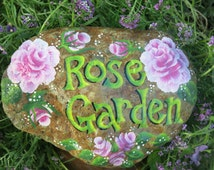 Painted Rose Garden Rock, Garden Decoration, Painted Rose Stone, Flower Rock painting
