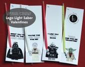 Valentine's Day Star Wars Lego Glow Stick Light Saber Valentines, Digital File, Instant Download