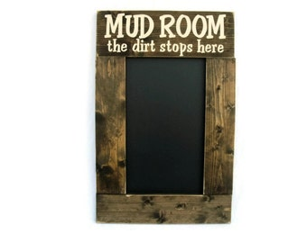 Rustic Wood Framed Chalkboard Wall Decor - Mud Room The Dirt Stops Here (#1082-CB)