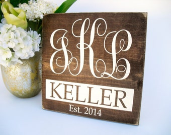 Personalized Monogram Family Name Wedding Sign Rustic Wood Home Decor Gift (#1335)