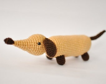 Crochet long dog. Dachshund. FREE SHIPPING.