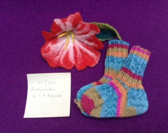 Hot colorful socks 6-9 months hand knitted colorful