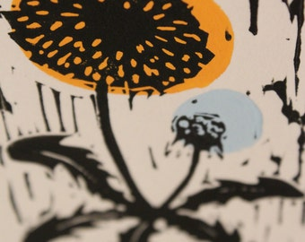 Little Dandelion, hand printed, limited edition, Lino Print with hand painted Gouache. 2014.