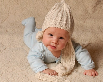 Baby Alpaca scarf hat 2 in 1 - Natural organic baby alpaca hat scarf - hand knit baby trapper hat