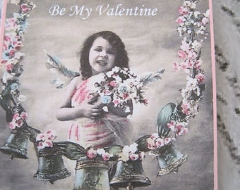 Valentine Gift Tags, Vintage Valentine Tags, French Tags,  Angel Tags, Be My Valentine, Vintage French Postcard Image