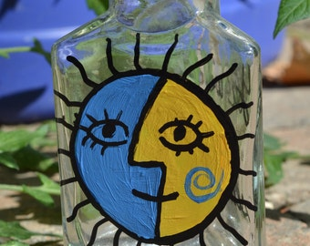 """Hand painted """"You are my sunshine"""" bottle."""