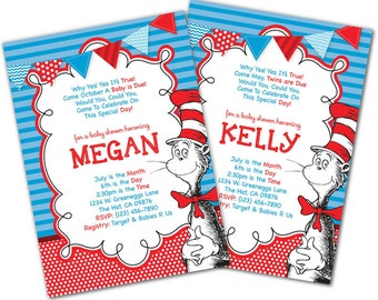 Cat In The Hat Baby Shower Invitation, Dr. Seuss Baby Shower Invitation,  Baby