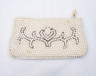Vintage Pearl Beaded Clutch