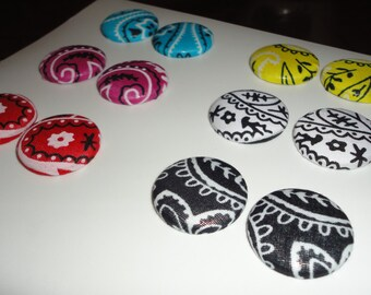 Bandana Button Earrings.