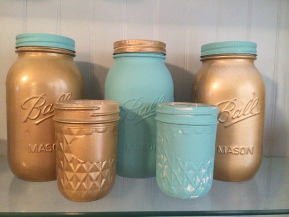 Set of 5: tiffany inspired wedding, wedding centerpieces, turquoise painted mason jars, gold mason jars, gold wedding centerpieces