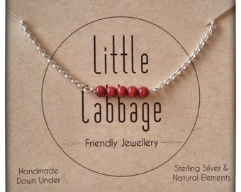 Coral Red Bead Bar on Sterling Silver Necklace