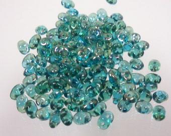 Czech Glass: Superduo Twilight Aqaumarine 34070