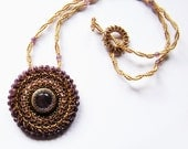 Rāni - purple gold embroidered pendant necklace with amethyst and fire polish crystals; unique handmade, original, handmade jewelry
