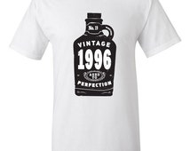 Vintage Booze 19th Birthday T-shirt Tshirt Tee Shirt Nineteen 1996 Gift Funny Joke college Whisky Drinking Drunk Beer Hipster bday party