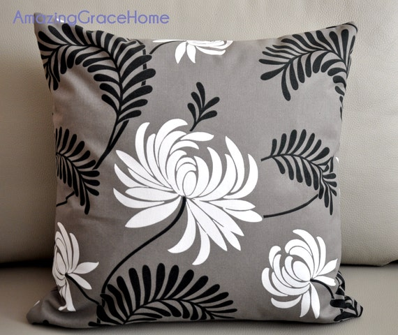 How To Make Zippered Throw Pillow Covers : Items similar to Zippered cotton throw pillow covers - taupe swirl floral decorative throw ...