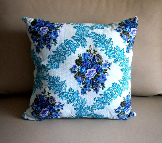 Items similar to SALE blue floral pillow cover, blue throw Pillow Covers, Blue decorative ...