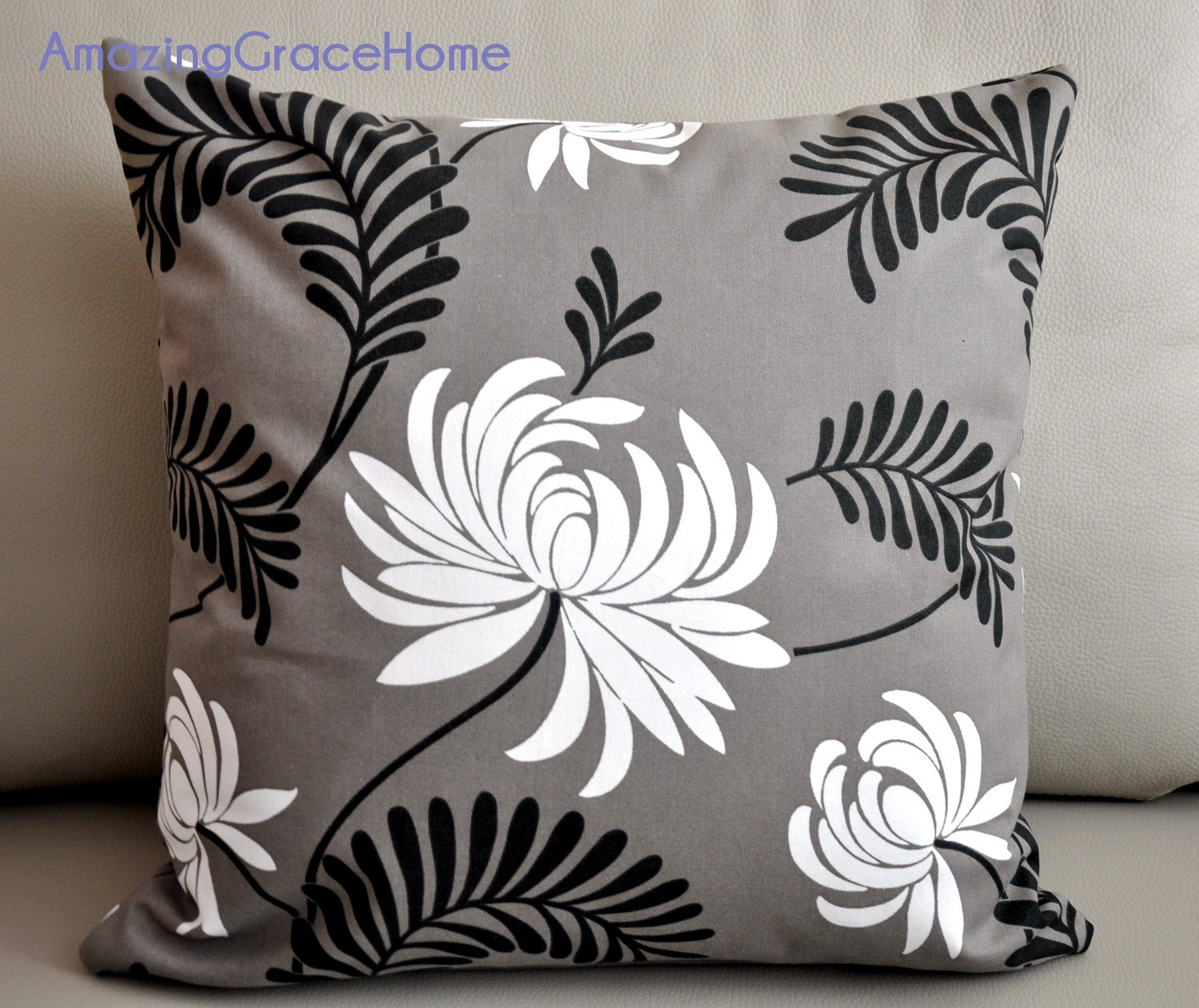Decorative Pillow Covers With Zippers : Zippered cotton throw pillow covers taupe swirl floral