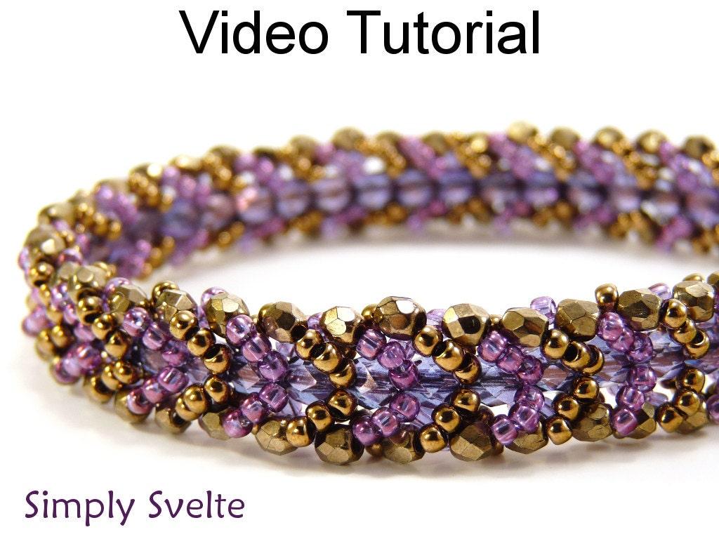 Beading Tutorial Pattern Flat Spiral Stitch Beaded Jewelry Making Bracelet MP4 You Tube Video Bead Bracelets Bead Beginner Easy #9706