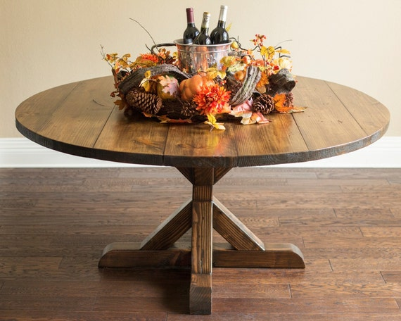 Items Similar To 60 Quot Round Farmhouse Table With X Base On Etsy