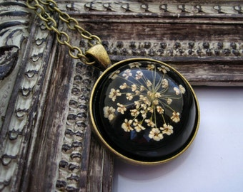 Cabochon necklace real dried flower cabochon necklace flower necklace