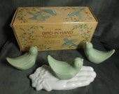 Vintage Avon Bird-In-Hand Soap Dish and 3 Guest Soaps