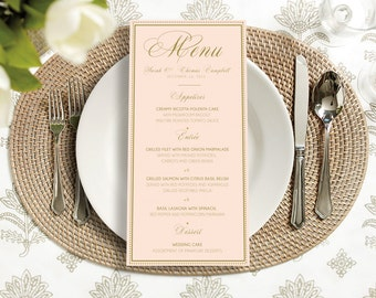 Printable - Calligraphy Menu gold blush, simple, classy