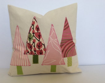 Christmas Tree Canvas Pink Pillow