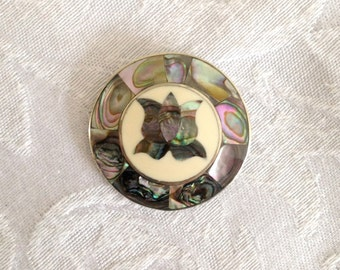 Vintage Taxco 925 Silver with Abalone Tulip Inlay Pin Brooch M440-5